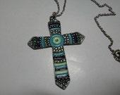 Vintage 60's Blue Enamel Cross