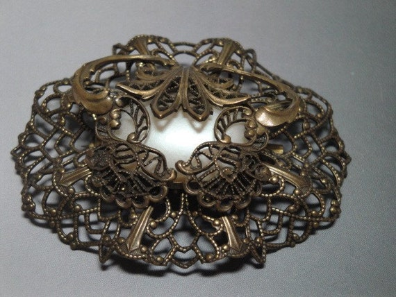 Vintage Opal White Stone Filigree  Brooch.