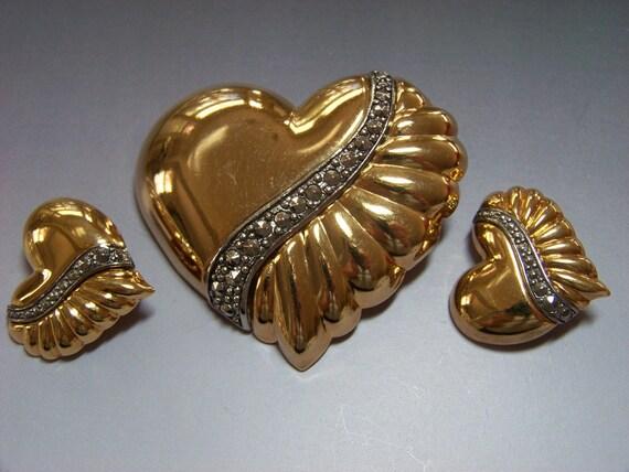 Vintage Avon Goldtone Heart Brooch and Earring Set