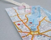 Green Bay map luggage tag made with original city road maps