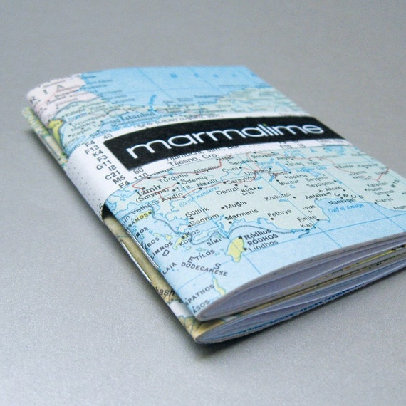 2 map mini notebooks made with eco paper that is post-consumer, reused, rescued, and found