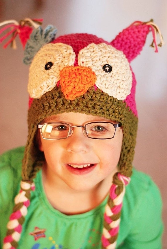 Crochet owl hat any size