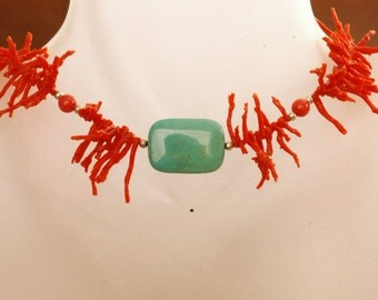 Kimadirose Coral & Turquoise Necklace  Sterling silver Signed