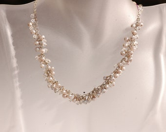 Kimadirose Cluster of Pearls & Crystal on Sterling silver Necklace  Hand Signed