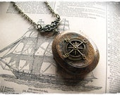 """Compass Locket Necklace """"The Journey"""" Pirate Steampunk"""
