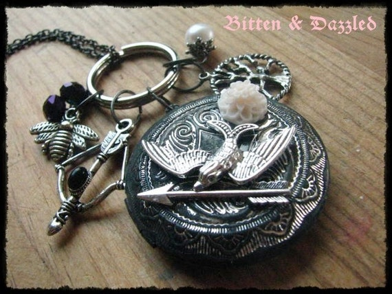 Hunger Games Themed Necklace Charmed Locket Real Fresh water Pearl