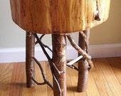 Rustic Bedside Log Table