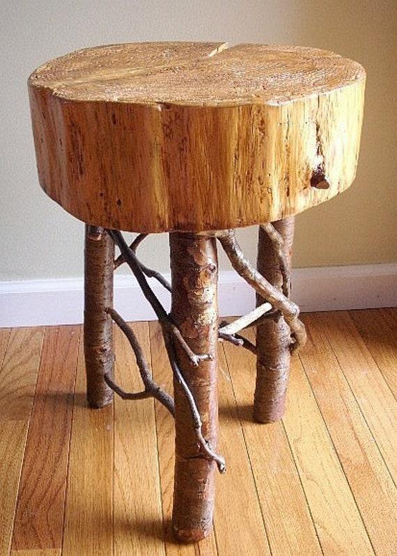 Rustic Wood Bedside Table: Rustic Bedside Log Table