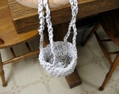 SPECIAL ORDER for ANNETTE - Hanging Planter, Crochet, Upcycled Hand-Braided Plarn