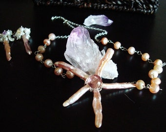 Star or Starfish Necklace - Biwa Pearl, Freshwater Pearl and AAA Mystic Pink Quartz - Sterling silver wire wrapped necklace