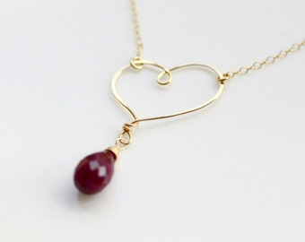 Ruby Necklace in 14k Gold Filled - Wire Wrapped Hand Forged Hammered Heart - Focal Pendant - 19 inches long - Valentine's Day