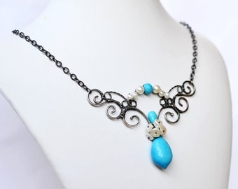Turquoise Necklace - Goddess - Genuine Turquoise, Freshwater Pearls - Oxidized Sterling Silver - Wire Wrapped