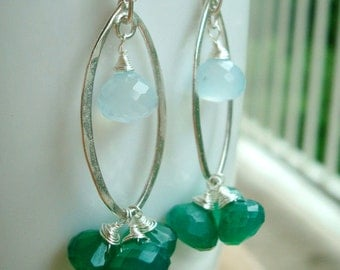 After The Summer Rain - sterling silver - aqua chalcedony - green onyx - freshwater pearl earrings
