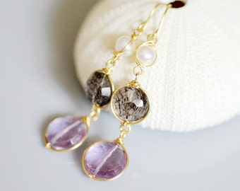 Black Rutilated Quartz, Amethyst, and Freshwater Pearl Earrings in 14k Gold Filled - Faceted Puffed Coins - Wire Wrapped - Classic
