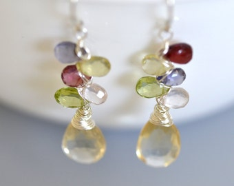 Multi Gemstone Earrings in Sterling Silver - Citrine Dangle - Wire Wrapped - Hand Forged