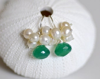 Pearl Cluster Green Onyx sterling silver Earrings - freshwater potato pearl - faceted onion briolette - wire wrapped