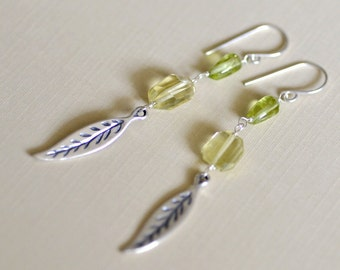 Lemon Quartz and Peridot Earrings in Sterling silver - wire wrapped - Sterling Silver Leaves - Dangle - Everyday