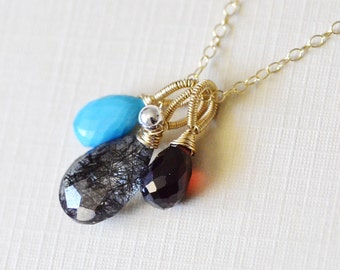 Multi Gemstone 14k gold filled necklace - Black Rutilated Quartz, Garnet, Turquoise - Wire Wrapped -Sterling Silver Round - Freshwater Pearl