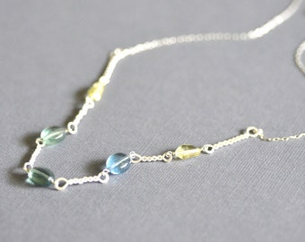 Twisted Bar Necklace - lemon quartz - fluorite - fine silver - sterling silver