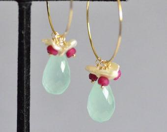 Aqua Blue Chalcedony Dangle on 14k Gold Filled Hoop Earrings - Keishi Pearl and Genuine Ruby Flower Earrings - Wire Wrapped