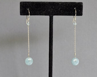 Aquamarine Dangle Earrings Sterling Silver - Wire Wrapped - Long Chain - Smooth Rondelle - Smooth Rondelle - Big - Aqua Blue