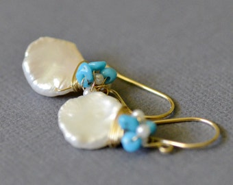 Keishi Pearl Sleeping Beauty Gold Earrings - 14k Gold Filled, Turquoise, Freshwater Seed Pearl - Messy Wrap - Wire Wrapped - Dangle - Bridal
