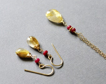 Earrings and Necklace Set - Golden Rutilated Quartz with Ruby - Genuine stones - 14k gold filled - 24k Vermeil