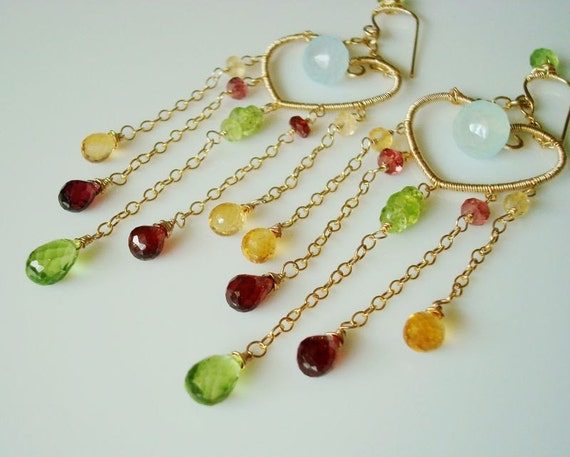 Spring Has Come to My Heart - 14k gold filled - aqua blue chalcedony, peridot, garnet, citrine - wire wrapped earrings