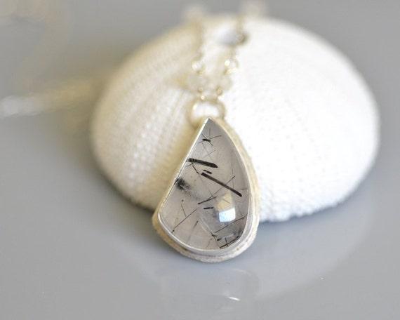 Tourmalinated Quartz Necklace - freeform cabochon, bezel, rainbow moonstone, sterling silver, wire wrapped - Black Rutilated Quartz
