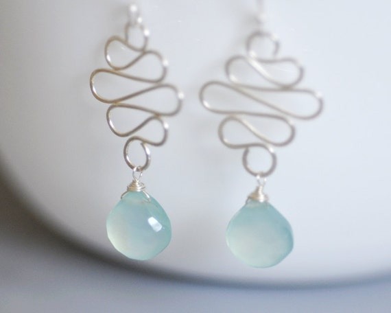 Aqua Blue Chalcedony Earrings in Sterling Silver - Wire wrapped briolette dangle - hammered wire