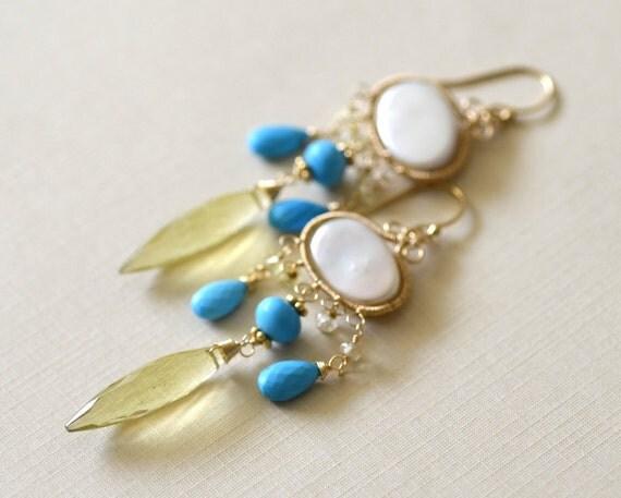 Sleeping Beauty - Wire Wrapped Chandelier Earrings in 14k Gold Filled - Oval Pearl - Lemon Quartz - Turquoise