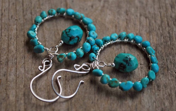 Genuine Turquoise Gemstone and Silver Wire Wrapped Hoop Earrings with Sterling Silver Ear Wires