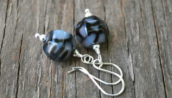 Spider - Dragon Vein Agate Dangle Earrings with Sterling SIlver