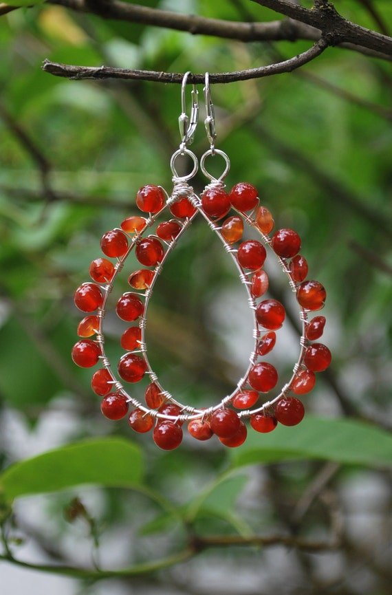 Circus - Carnelian and Silver Wire Wrapped Big Hoop Earrings
