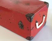Red Doll Trunk Large Vintage Metal Steamer Case