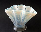 Art Glass Vase Vintage Fenton Opalescent Hobnail Fan