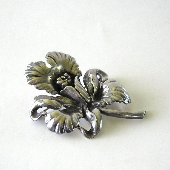 RESERVED for Erica, Cattleya Orchid Brooch Sterling Silver Flower Mid Century Pin