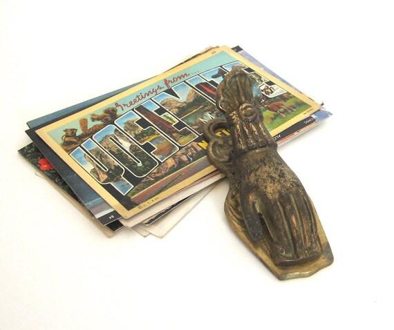 Brass Hand Clip Photo Holder Display Desk Organizer