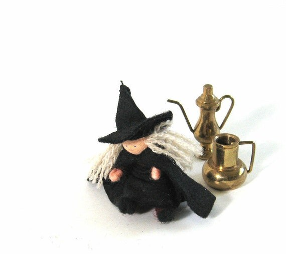 Halloween Witch Doll Witchy Fabric Tiny Wise Woman