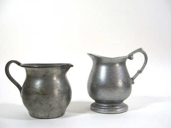 Small Pewter Pitchers Vintage Vase Grey Instant Collection