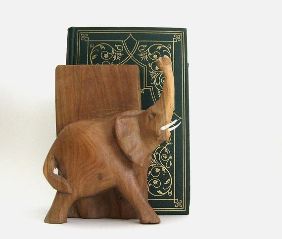 Carved Elephant Bookened Vintage Wood Book Animal Sculpture