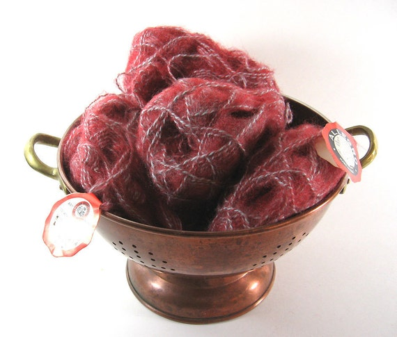 Raspberry Vintage Yarn Italy Acrylic Mohair 55 45 Blend