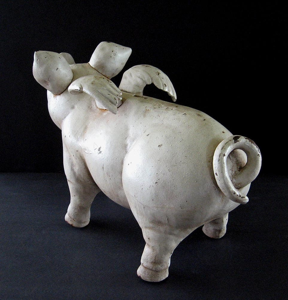When Pigs Fly Cast Iron Big Pig Piggy Bank By Thevintaquarian