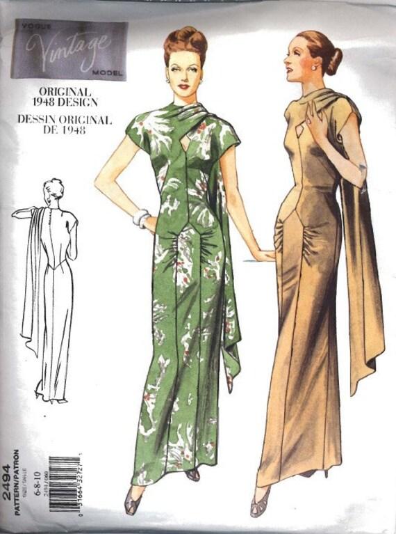 SALE  Vogue vintage dress pattern 2494 - 1940s OOP