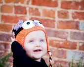 Baby Girl, Halloween Owl Hat, Crochet baby hats, Baby Girl hat, Owl hat, Made To Order