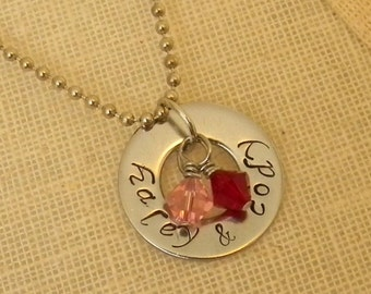Stamped Jewlery, Stamped Necklace, Personalized Necklace, Mothers necklace, Birthstone Necklace, Two name necklace