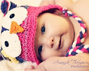 Baby Girl Hats, Baby Owl hat, Crochet Baby hats, Purple and Pink, Crochet Baby Hats, Made to Order