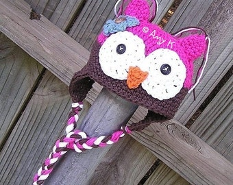 Pink and Brown Owl hat for Toddlers, Crochet Owl Hats, 2T-6T, Crochet Baby hats, Baby girl Hats, Girl owl Hats