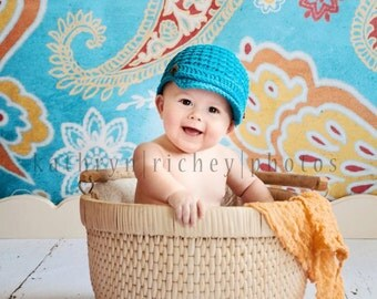 Newsboy Hat, Boy Newsboy Hat, Baby Boy Hats, Hats for boys, Custom Color Hat, Newborn to 12 mnths, Crochet Baby Hats