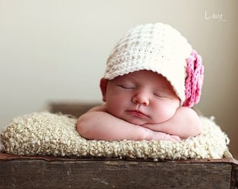 Baby Girl Newsboy Hat, Crochet baby hats, Infant Newsboy hat, Newborn Newsboy Hat, Baby Girl hats